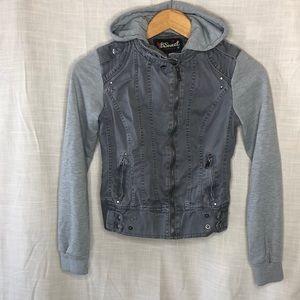 Grey hoodie light jacket Moto urban street zip up